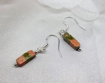Silver Unakite Earrings Summer Earrings Summer Jewelry Orange Earrings Green Earrings Dangle Earrings Sterling Silver Earrings BuyAny3+1Free