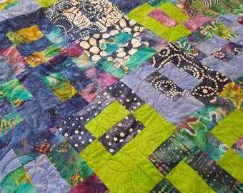 Blue and green lap quilt