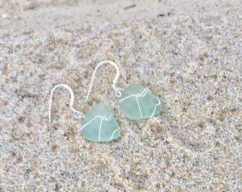 Genuine Aqua Seaglass Earrings