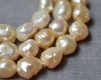 Pebble Large Hole Freshwater Pearl Baroque pearl Loose pearls Pebble pearl necklace 8-9mm peach 37pcs Full Strand PL3168