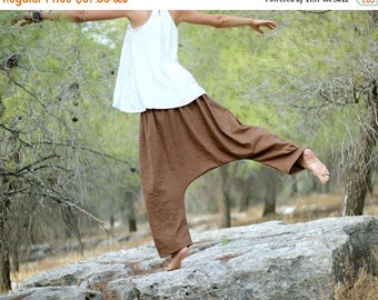 ON SALE Linen Harem pants for Women, Afghani Low Crotch Trousers, Regular, Tall