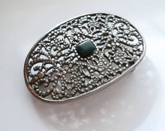 Vintage Buckle Ornate Oval with Forest Blood Stone Dark Green Spot of Red Blood Southwestern Western Cowgirl Womens Aries Gift Boho Festival