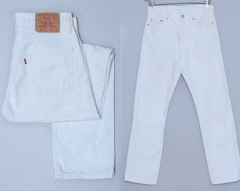 90s White Denim Levis 501 Button Fly Mod Denim Jeans 31 x 32