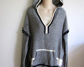 BOHO Sweater hoodie ethnic vintage cotton knit L large