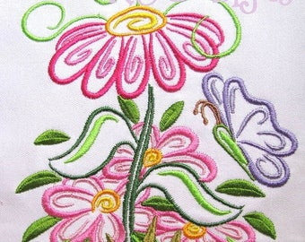 ON SALE Outline Spring Flowers Machine Embroidery Design - 4x4, 5x7 & 6x8