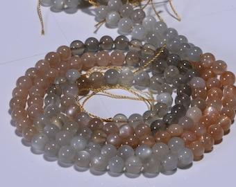 Moonstone 6 mm Half  Strand smooth Round Beads Natural Gemstone Beads Jewelry Making Supplies