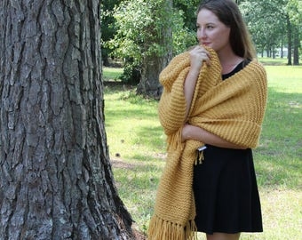 Chunky Mustard Blanket Knit Scarf, Gold Cover, Women's Knit Wrap, Long Winter Scarf, Deep Yellow Extra Wide Scarf