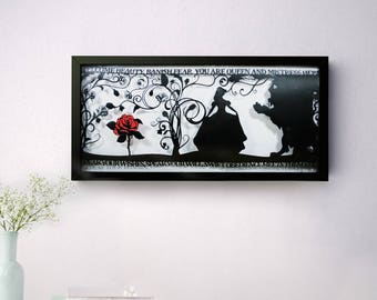 The Beauty of a Beast Hand Cut Papercut • Beauty and the Beast • Fairytale Wall Art • Paper Cut Quote