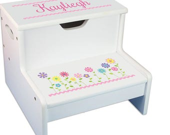 Personalized Stemmed Flowers Childrenu0027s Stool with Storage White Childrens STEP Stools Pink Pastel Lavender Purple Garden  sc 1 st  Etsy & Childrens step stool | Etsy islam-shia.org