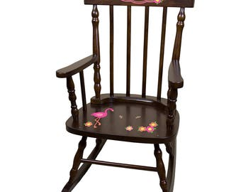 Personalized Espresso Childrens Rocking Chair with Pink Flamingo Design-spin-esp-342