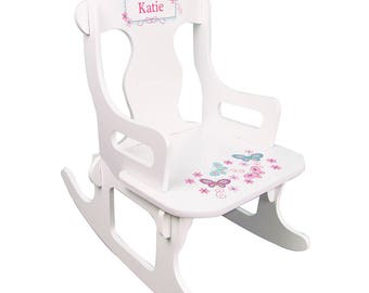 Personalized White Puzzle Rocking Chair with Aqua Butterflies Design-puzz-whi-300c