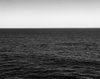 Large Black & White Ocean view Photograph, Digital Print, Wall Art, Home Decor, Download