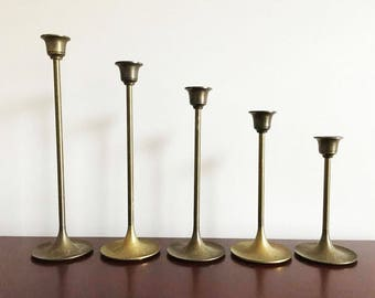 Solid Brass Graduated Tulip Candlestick Holders / Set of 5 Graduating Sizes