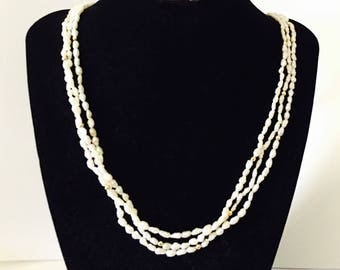 14K Gold Fresh Water Pearls Necklace, Triple Row, Yellow Gold Clasp, Matching Round Gold Beads,  Item No. B020
