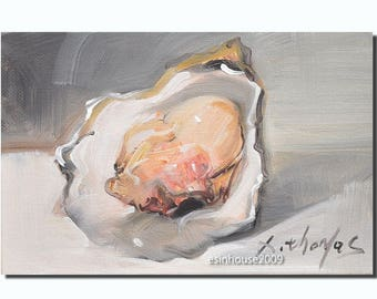 Original oil painting oyster impressionist sea animal art 12 x18cm by X.thmoas
