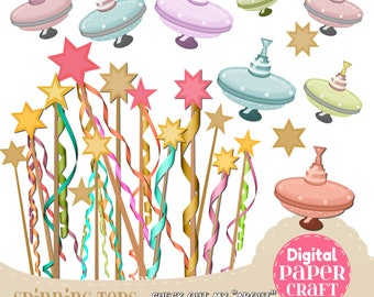 Spinning Top Clipart, Fairy wand Clipart, Kids Clipart, Toys clipart, Childhood  clipart, Clipart, Handrawn Clipart, Fairy clipart,
