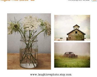 Christmas in July Rustic Farmhouse Photo Print Set, Barn Photography, Flower Still Life, Home Decor Wall Art Decor Queen Anne Lace Mason Jar