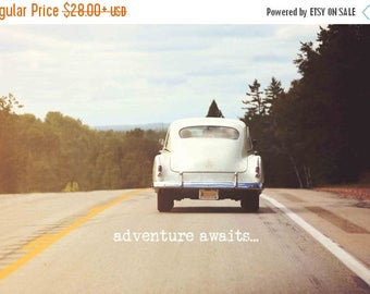 Christmas in July Retro Car Photo, Travel Photography, Adventure Awaits Typography, Wanderlust Print, Vintage Dorm Livingroom Office Work Ho