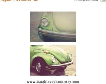 Christmas in July VW Bug Car Photo Print Set, Vintage Volkswagon Beetle Photography, Retro Lime Green Chartruese Hippie Hipster Decor, Home