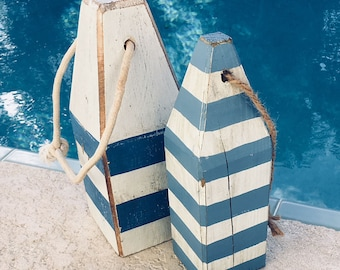 Coastal Decor Set Strip Blue White Lobster Buoy Nautical Wooden by SEASTYLE