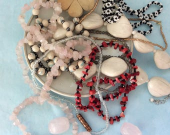 Beads Necklaces - Rose Quartz - 8 necklaces - Estate Sale - Junk Drawer Jewelry - Bead Lot - necklace making - repurpose - mixed lot