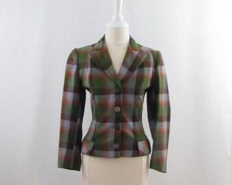 SALE Autumn Plaid Wool Blazer - Vintage 1970s Womens Fitted British Blazer in Small