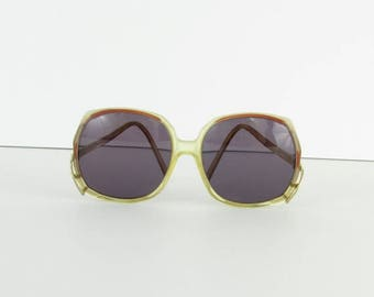 SALE Amber Frost Oversized Sunglasses - Vintage 1970s Boho Square Sunglasse by Da Vinci