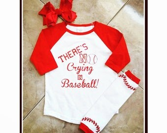 There's NO Crying in Baseball Outfit  - great for baby showers, birthdays, hospital gifts, mother's day, etc. Heat Transfer vinyl NOT paint