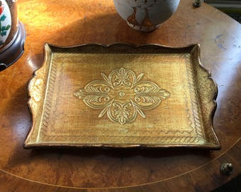 Vintage Wood Rectangular Gold and Cream Florentine Serving Tray, Drinks Tray, Bar Tray, Gump's, Italy
