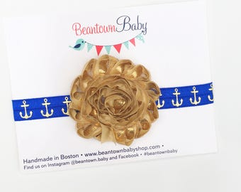 Royal Blue and Gold  Baby Headband. Nautical Baby Headband. Royal Blue Baby Headband. Nautical Baby Girl Outfit