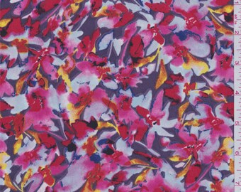Plum Multi Day Lilly Crepe de Chine, Fabric By The Yard