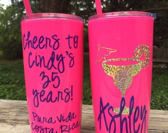 Personalized Bachelorette / Birthday Party Cups / Cheers to 35 Years / Tumbler with lid & straw / Bridesmaids / Girls Weekend