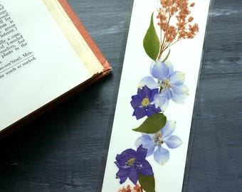 PRESSED FLOWER BOOKMARK - Preserved Natural Garden Flowers, Reader, Book Lover, Teacher, Student Gift, Lavender, Blue Larkspur