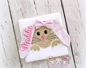 Girls Easter bunny shirt - 3D floppy eared bunny shirt - personalized bunny shirt - floppy Easter bunny shirt - 1st Easter shirt for girls