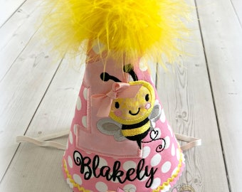 Bumblebee birthday hat - 1st birthday bee themed birthday hat -  pink polka dot bee hat - embroidered fabric birthday hat for girls