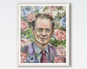 Steve Buscemi - Oil Painting - Painted Portrait - Art Print - Oil Portrait - Floral Painting - Floral Portrait - Pop Culture - Floral Print
