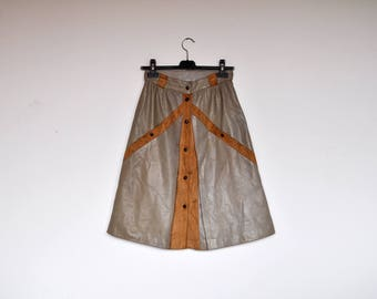 Vintage Taupe and Tan Leather and Suede High Waist A Line Front Buttoned Skirt