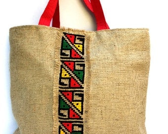 Tribal hand Embroidered Jute Tote Bag, boho style, completely handmade tote, cross-stitched with colorful tribal  pattern, one of a kind