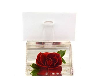 50% OFF Vintage Bircraft Reverse Carved Lucite Letter Holder // 1960's Red Rose Flower Business Card Photo Display Stand Collectible Paperwe