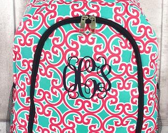 Monogrammed Backpack, Moroccan Swirl Design, Personalized Book Bag, Mint and Coral Bookbag, Damask Backpack, Monogrammed School Bag