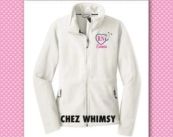 Monogrammed Nurse's Jacket, Personalized Nurse's Gifts, Monogrammed Fleece Jackets, Stethoscope Jackets, RN Jacket, Nursing Student Gift