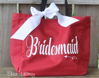 Personalized Tote, Bridesmaid Goodie Bag, Personalized Bag, Tote with Large Print, Monogrammed Tote, Bridal Party Gifts, Bridesmaid Tote