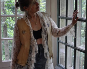 Hand Crafted Vintage Leather Vest/Fringe and Beading/Native American Made/Women's Size Small/Festival Wear