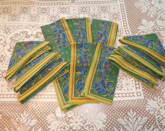12 Vintage French Country, French Provincial Print Cotton Napkins with classic colors of the French Provencal region in Very Good Condition