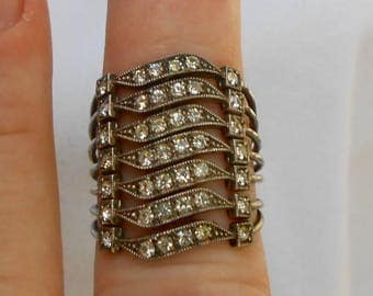 white rhinestone stacking bands ... 7 rows of sparkly perfection ... deco style revisited