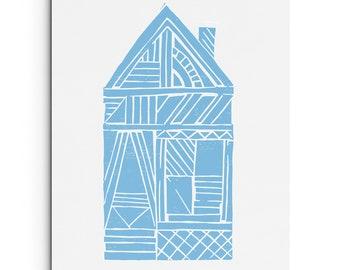 Shotgun House with Geometric Patterns 2- Wall Art - House Illustration-Digitally Printed Wall Decor - Giclee Print - Black, Sky Blue