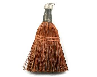 Vintage straw whisk broom, reddish brown, primitive, folk art, hand held  hearth brush, housekeeping, wire wrapped handle, thread sewn