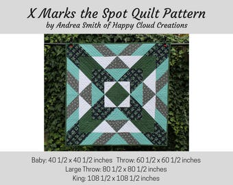 X Marks the Spot Quilt PDF Pattern, Baby size, Throw Size, King size, Quick, Easy, Beginner pattern, Novice Quilter, half square triangle