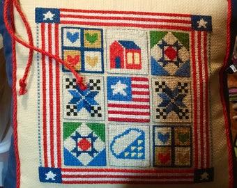 Americana Cross Stitch Pillow