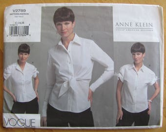Uncut Vogue 2789 Sewing Pattern - Anne Klein -  Misses Shirt - Size 12- 16